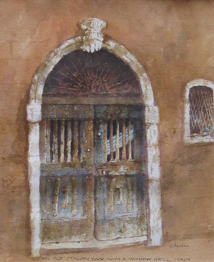 An Old Italian Door with Windowsill  Watercolour : 32 x 26 cm Signed