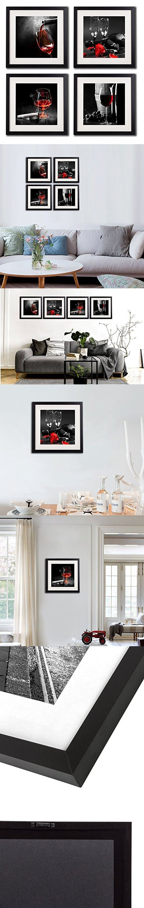 e5d8a4def24 Framed Wine And Grapes Wall Art Prints Posters For Living Room Decorations  Black White And Red