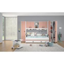 Cot / youth bed Benjamin 44 incl. 2nd berth, color: white / pink - L ... #2nd #bed #Benjamin #berth #Color #Cot #incl