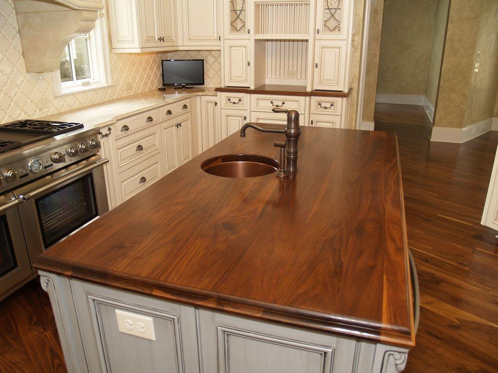 farmhouse style wood countertops
