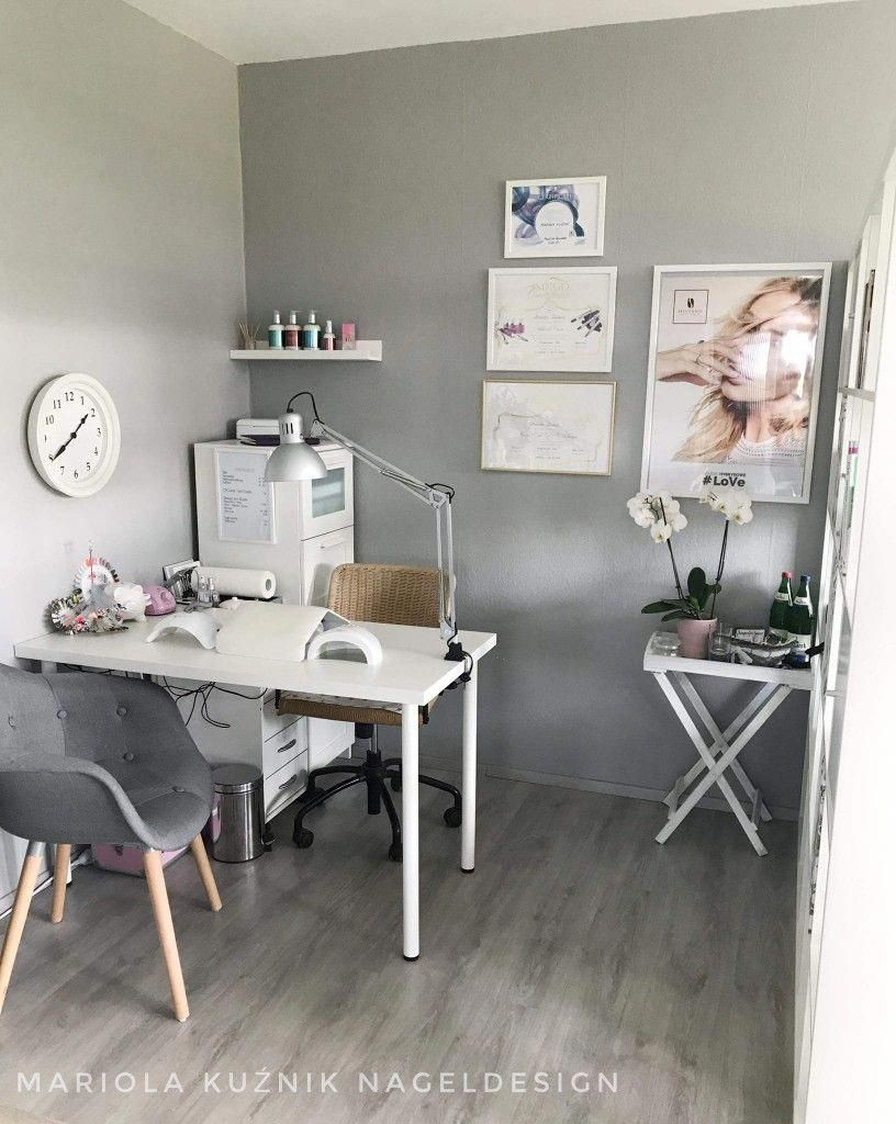 Nice Small Space Nail Technician Room Idea Home Nail Salon Decorating Ideas Salonideas Salonideasdesig Home Beauty Salon Nail Salon Decor Beauty Room Salon