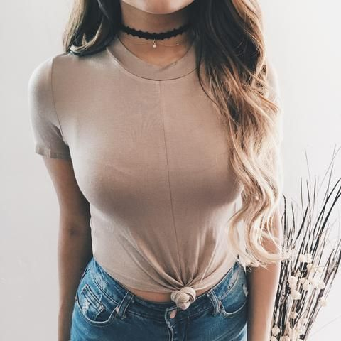 Nadia Knot Tie Crop Top (Coffee)