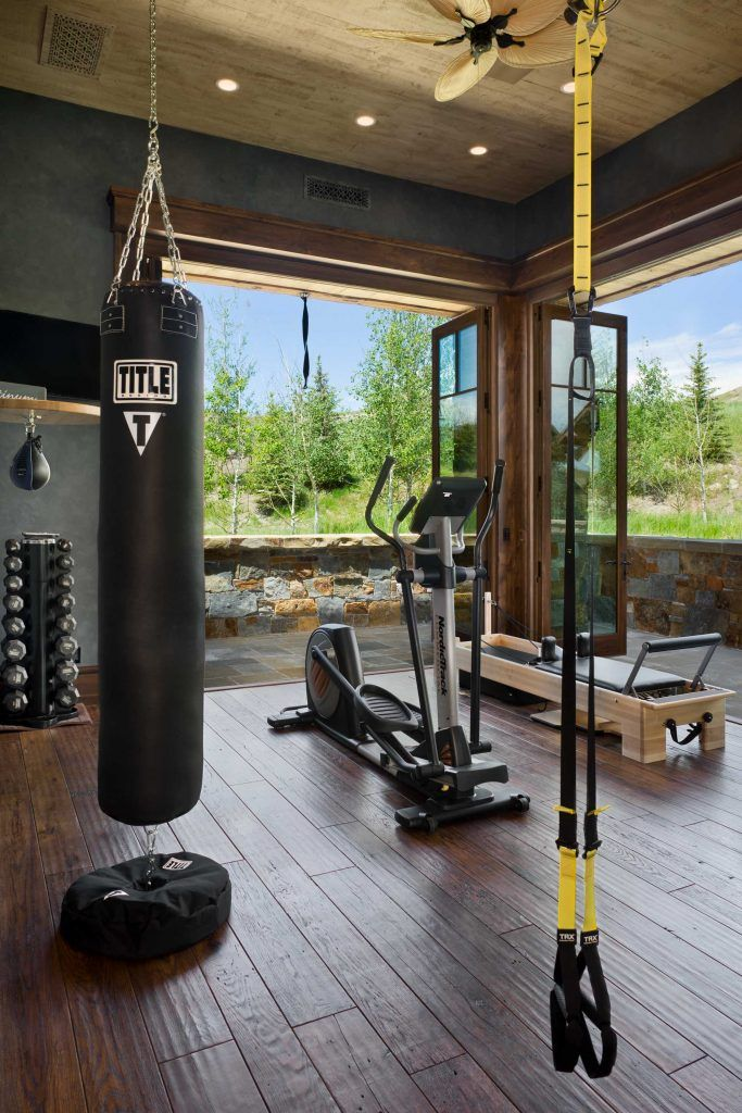 Rustic Elegance In Montana Home Gym Design Home Gym Decor Dream Home Gym
