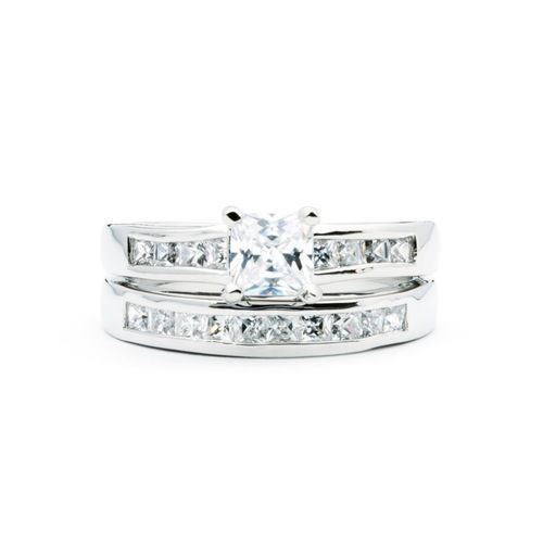 Sentiment Double Band Ring with Cubic Zirconia