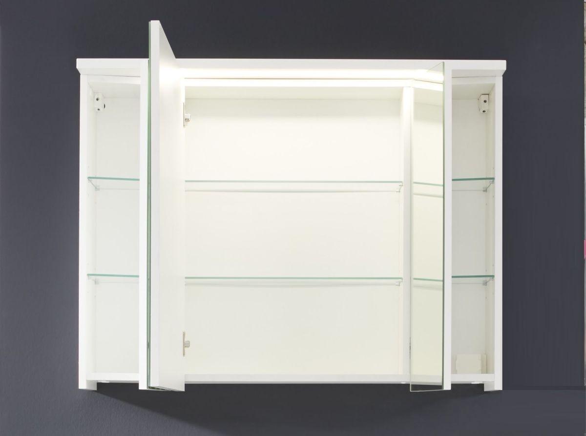 Spiegelschrank Weiss Mit Led Beleuchtung Und Schaltereckdosenbox