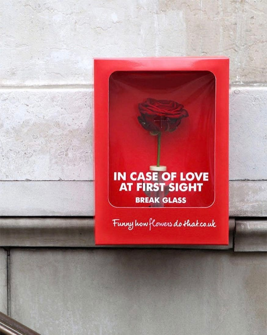 In case of love at first sight break the glass! -Flower Council of Holland #creativeads #valentinesday