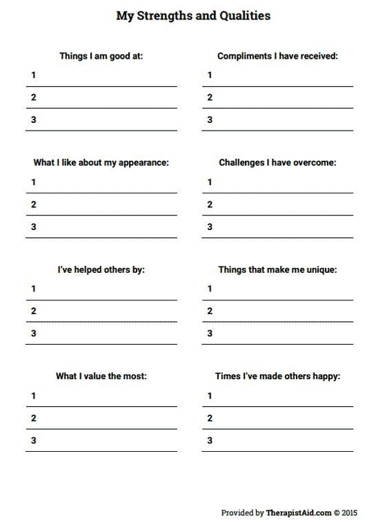 My Strengths And Qualities Worksheet Mental Healthaddiction
