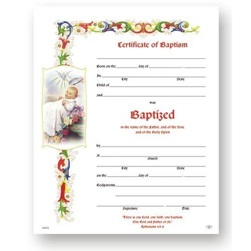 Baptism Certificate (50 Pack) POSITIEVE VOORWERPEN Pinterest - baptism certificate