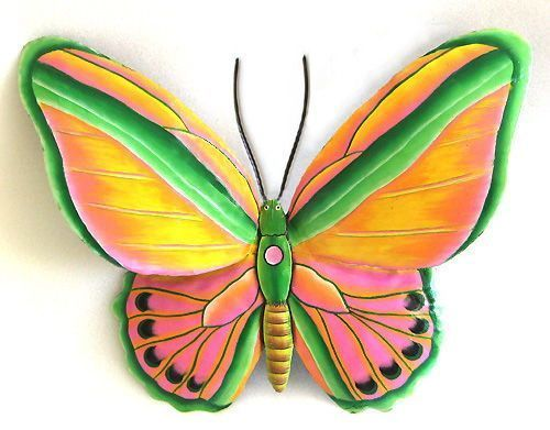 Hand Painted Metal Butterfly Wall Decor Created From