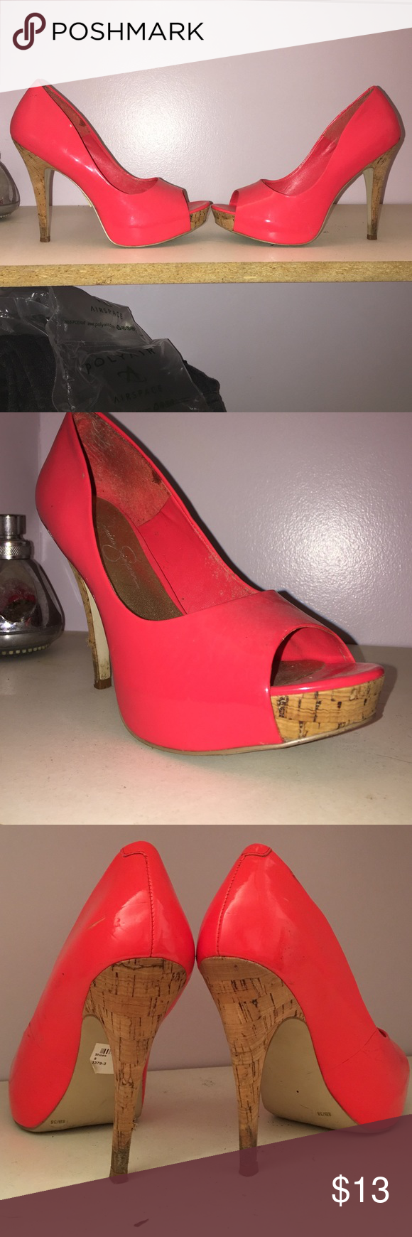 Jessica Simpson heels Bright coral pink stilettos, size 8 OBO Jessica Simpson Shoes Heels