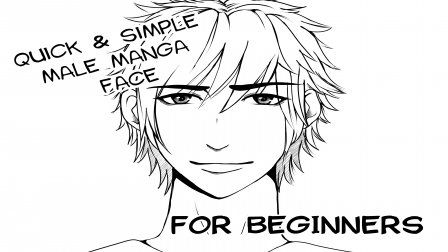 How to draw and simple shade a basic, male Manga face #