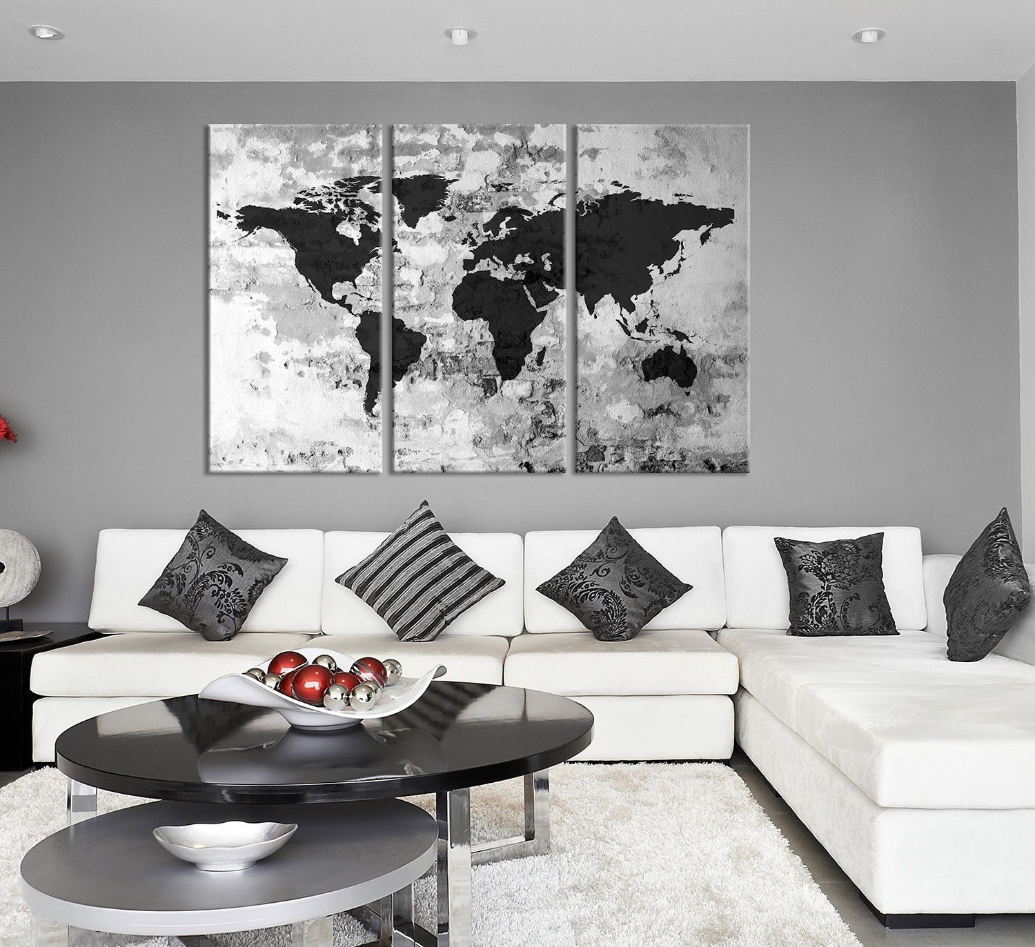 Large triptych art grayscale world map canvas print large world map large triptych art grayscale world map canvas print large world map wall art world gumiabroncs Gallery