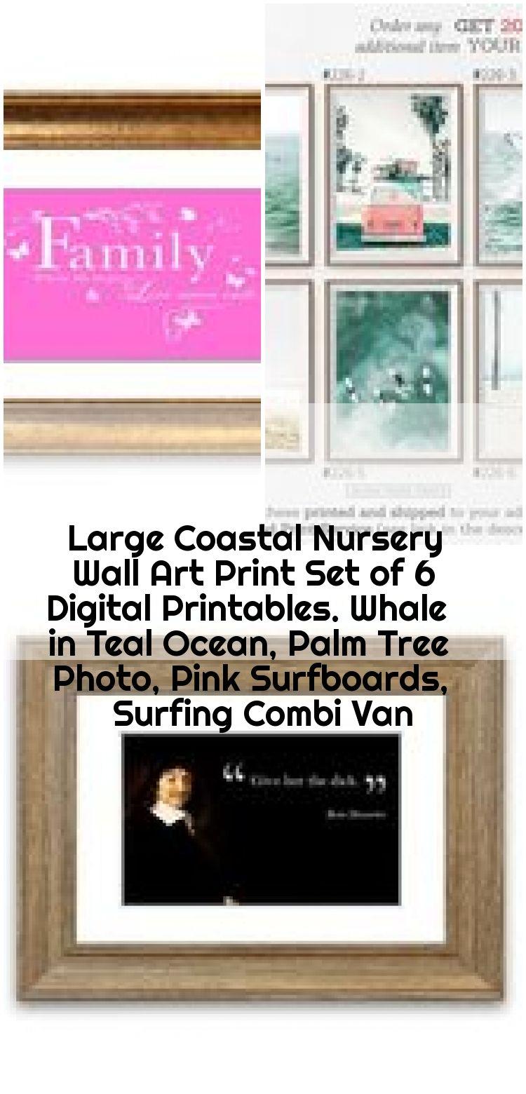 Surfing Combi Van Palm Tree Photo Large Coastal Nursery Wall Art Print Set of 6 Digital Printables Pink Surfboards Whale in Teal Ocean