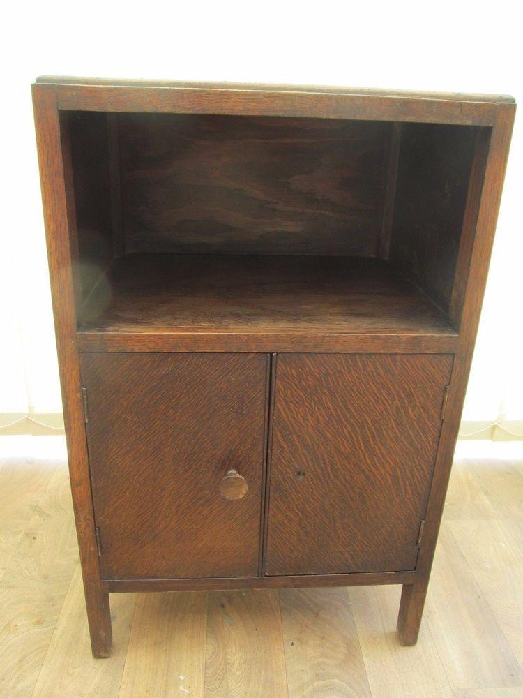 Bedside Cabinet 2 Door Unit Oak Veneer Vintage 40 S Utility Mark Furniture Ebay