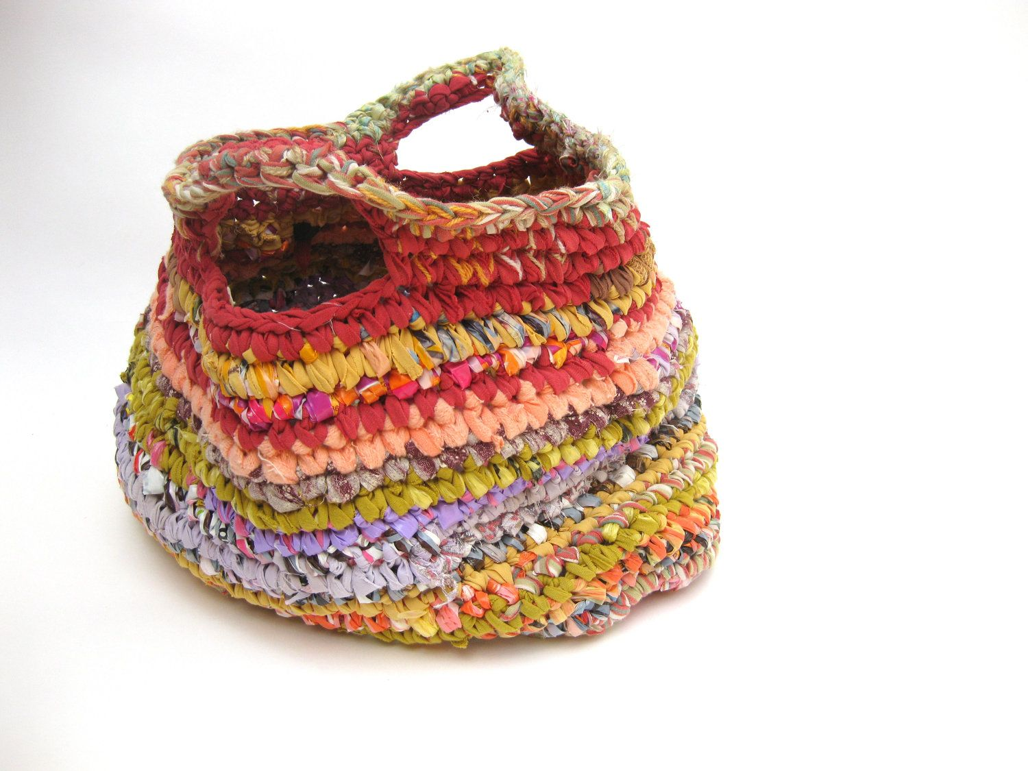 Colorful large fabric crochet basket