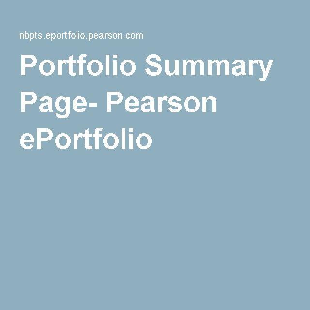 Portfolio Summary Page Pearson Eportfolio Eportfolio National