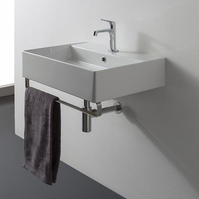 Teorema Ceramic 19 Wall Mount Bathroom Sink With Overflow Wall
