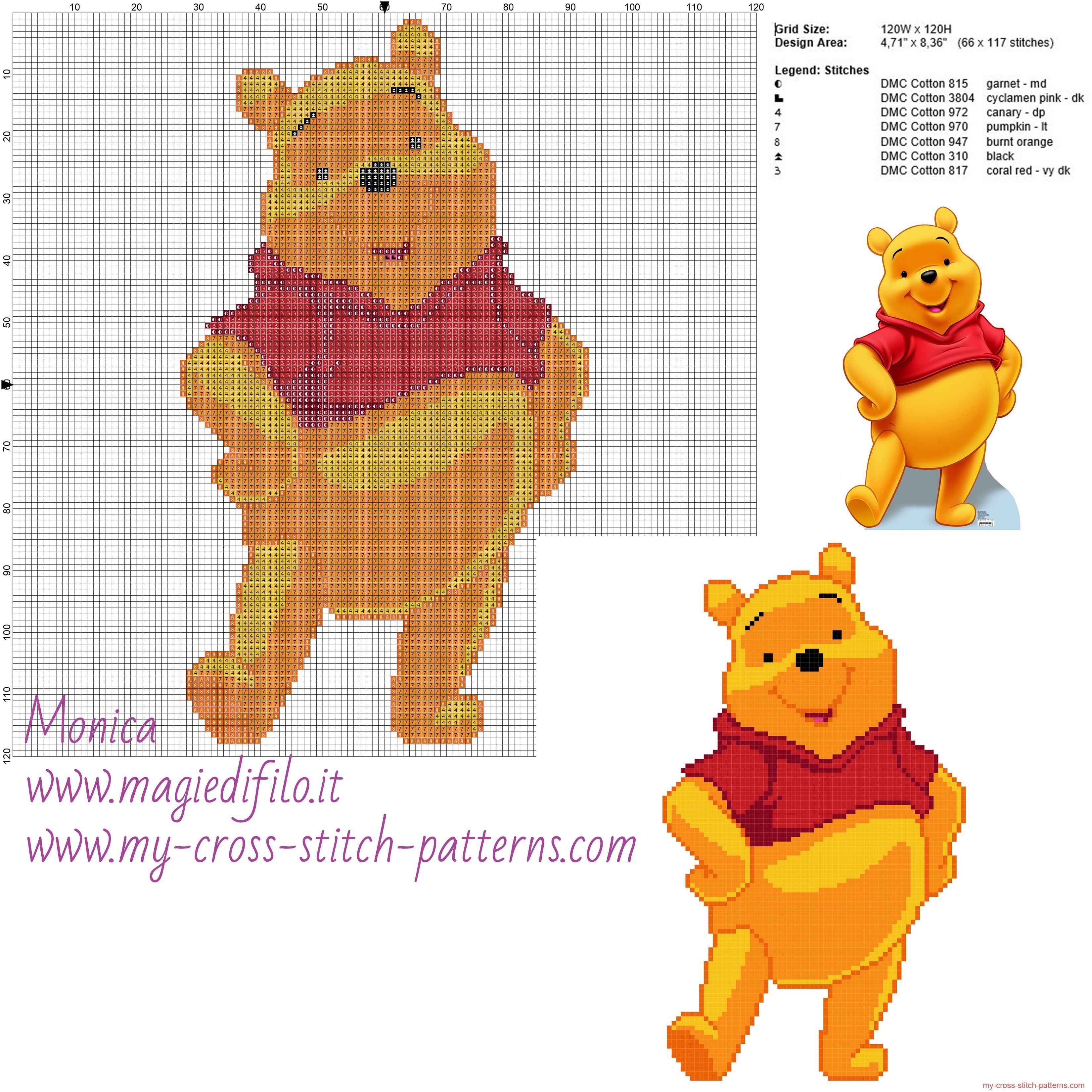 Winnie the Puh patrón punto de cruz   costura   Pinterest   Punto de ...