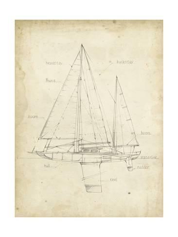 'Sailboat Blueprint IV' Art Print - Ethan Harper | Art.com
