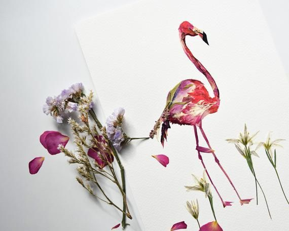 Flamingodruck Gärtnereikunst Trockenblumengesteck Botanischer rpint Trockenblum…