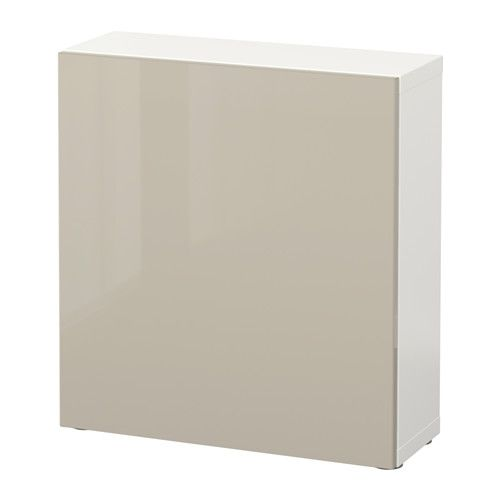 BESTÅ Regal mit Tür, weiß, Selsviken Hochglanz beige weiß - küchen regale ikea