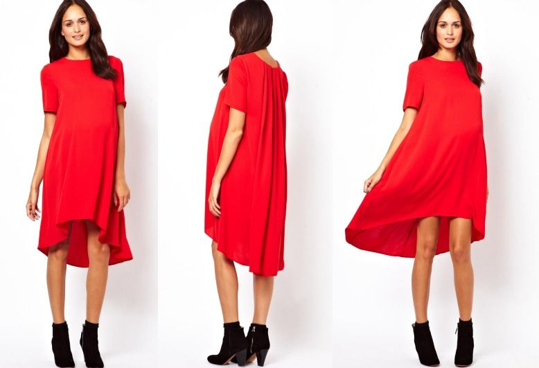 asos maternity swing dress with dipped hem the bump wear project - Maternity Christmas Dress