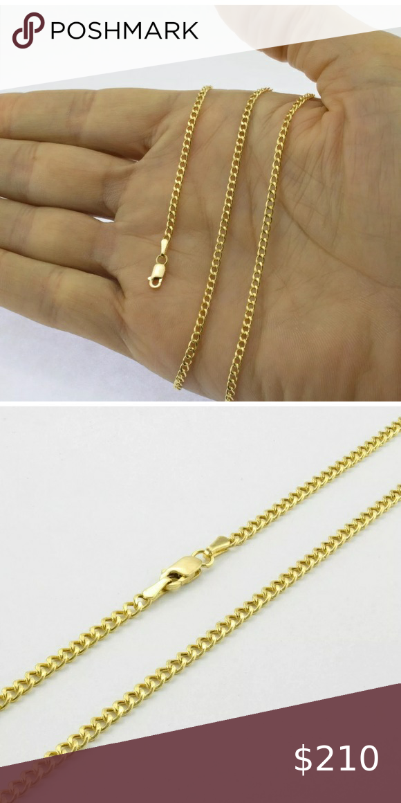 Real 10k Gold Women S Short Cuban Chain 2 5mm 14 In 2020 Cuban Chain Gold 10k Gold