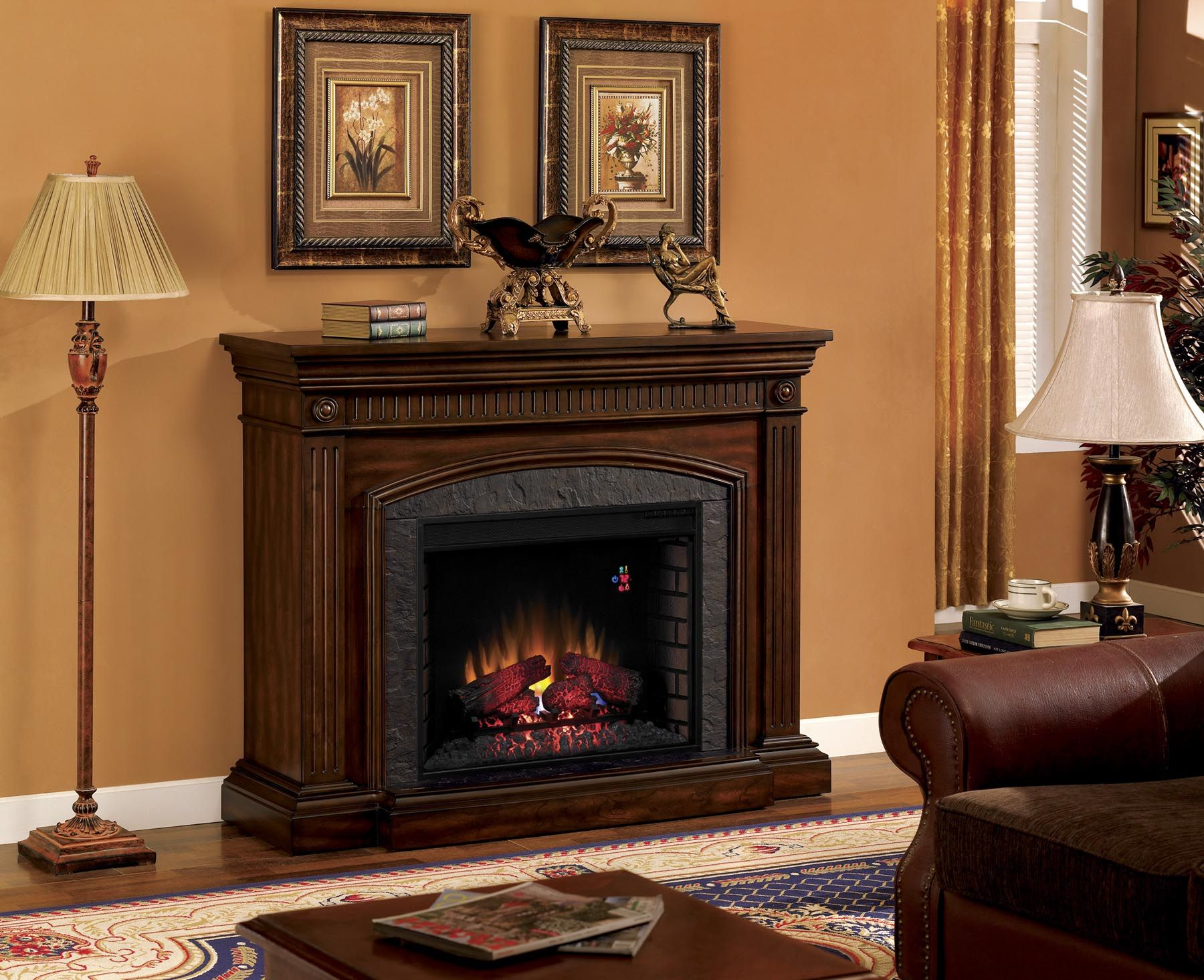 Fireplace amp tv stand in premium cherry finish with 23ef025gra electric - Fireplace Mantels Surrounds Los Angeles Orange County Ventura County