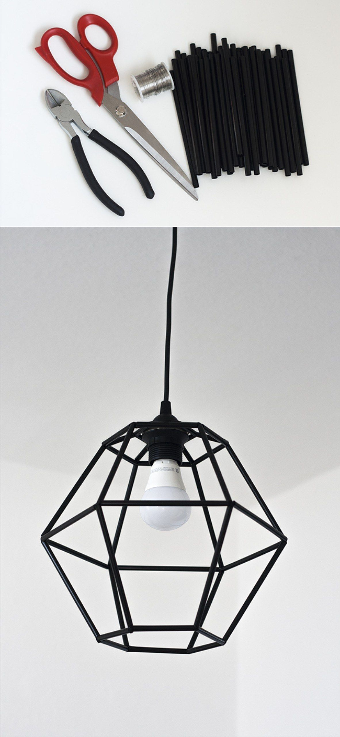 Make a trendy geometric pendant light fixture for under $10! | DIY ... for Diy Geometric Lamp  56bof