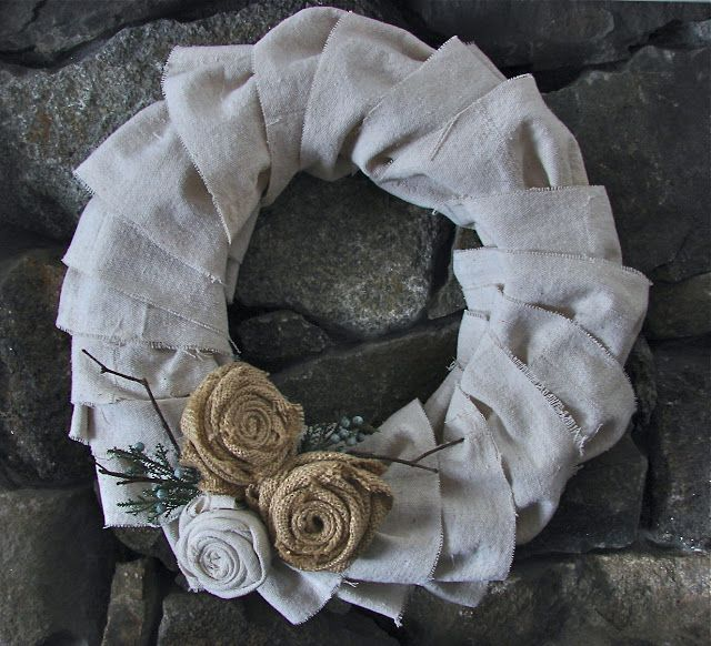 Pieced Pastimes: Ruffled Dropcloth Wreath