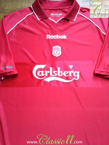 bd9aeff86 Relive Liverpool s 2000 2001 season with this vintage Reebok home football  shirt.