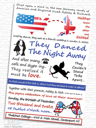 Looking for BritishAmerican themed wedding invitations or save the