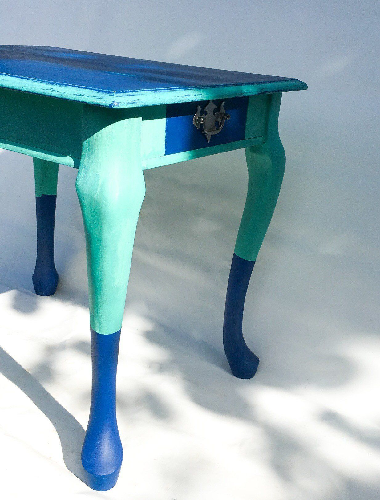 Ornate Side Table Upcycled End Table Coffee Table Rustic Charm Navy Blue And Green Quirky Furniture House Warming Gift Hand Painted Rustic Charm End Tables Dark Wax