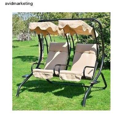 Outdoor 2 Person Double Covered Swing Patio Canopy Porch Chairs Cup Holders  sc 1 st  Pinterest & Outdoor 2 Person Double Covered Swing Patio Canopy Porch Chairs ...