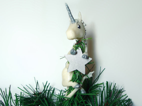 Unicorn Christmas Tree Topper Ready To Ship Winter Christmas