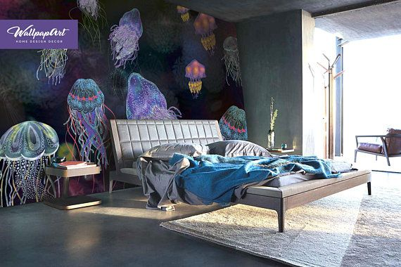 Jellyfish Removable Wallpaper Peel And Stick Wallpaper Etsy Dark Wallpaper Removable Wallpaper Wall Murals