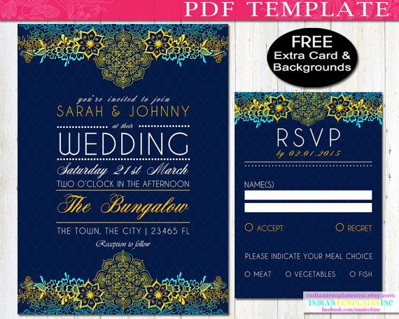 Bollywood Invitation Template for an Indian by IndianTemplatesInc - chalk board invitation template
