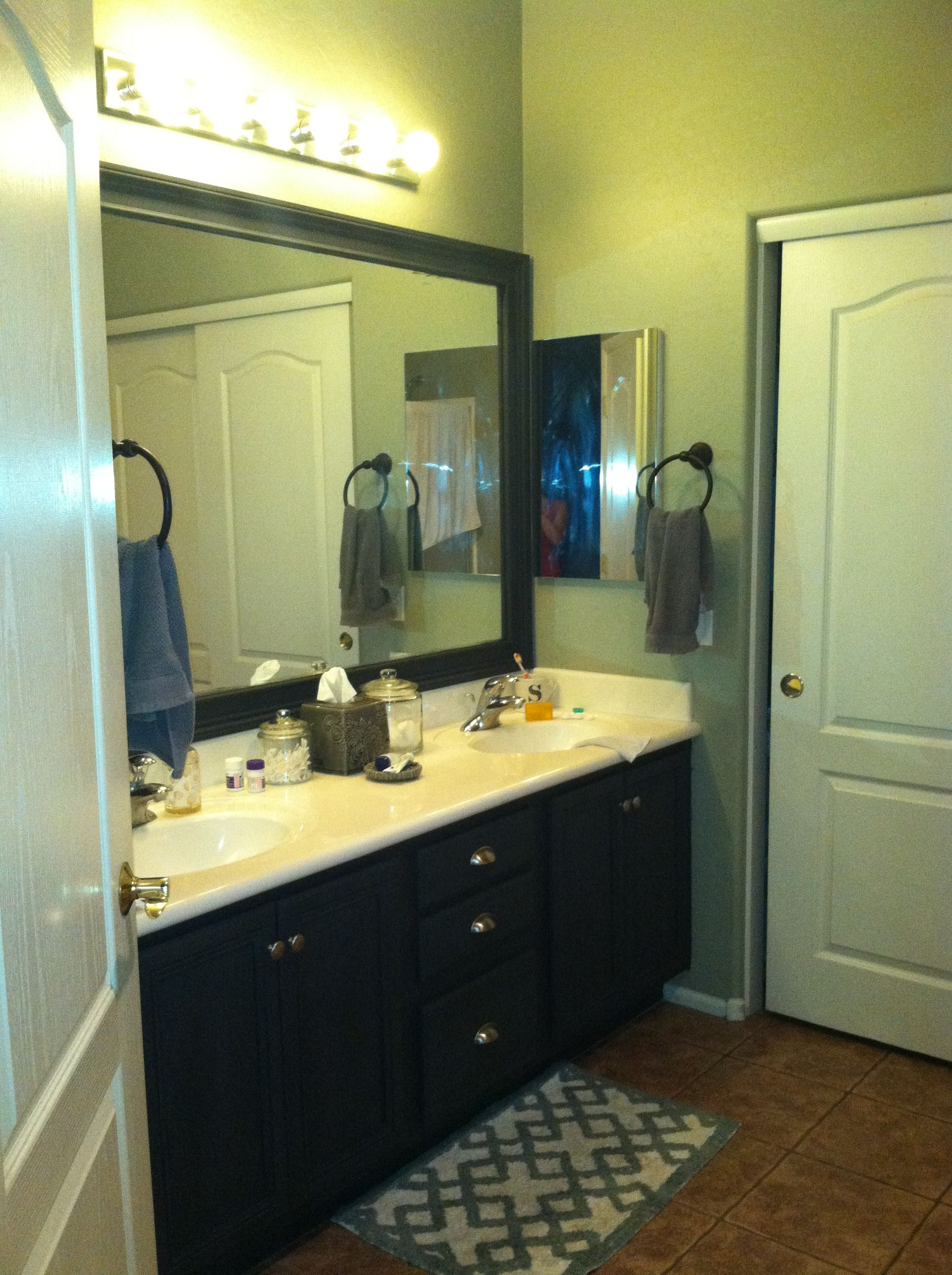 Track home no more! Painted maple cabinets and added ... on Bathroom Ideas With Maple Cabinets  id=18118