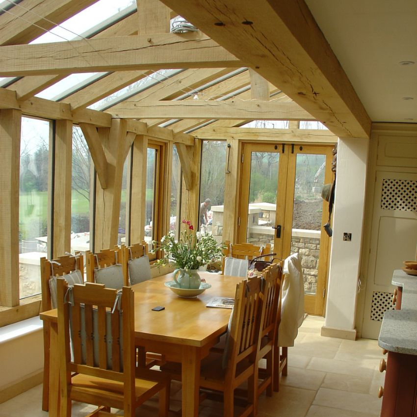 Oak framed garden room not a huge fan of the table but for Conservatories and garden rooms