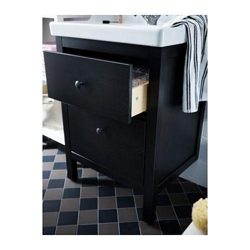 ODENSVIK/HEMNES Meuble lavabo 2tir Teinture noir-brun 60x49x89 cm