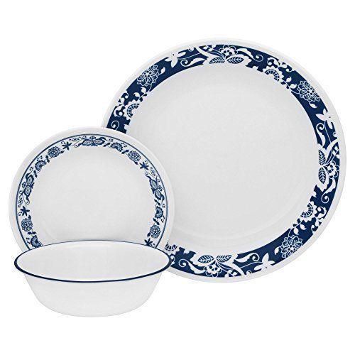 16pc Dinnerware Set Service for 4 White Blue Stoneware Mugs Corelle Thanksgiving  sc 1 st  Pinterest & 16pc Dinnerware Set Service for 4 White Blue Stoneware Mugs Corelle ...