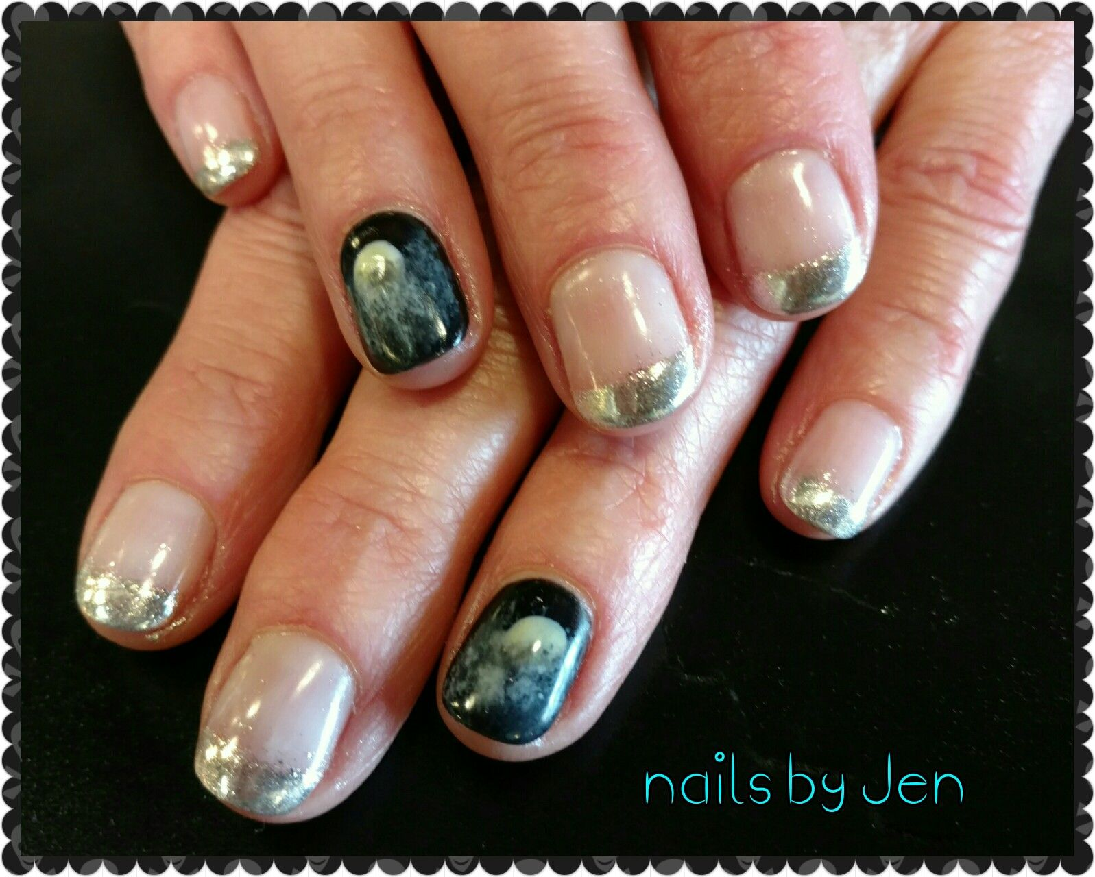 Halloween full moon chrome french nail art | French nail ...