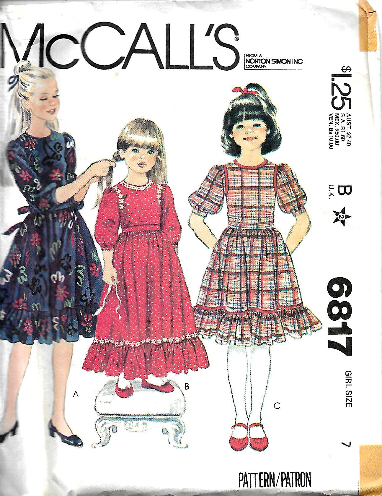 Mccalls 6817 girls ruffled dress pattern two lengths size 7 vintage 1979 sewing pattern mccalls 6817 girls ruffled edge dress size 7 breast 26 inches complete by goofingoffsewing on etsy jeuxipadfo Choice Image