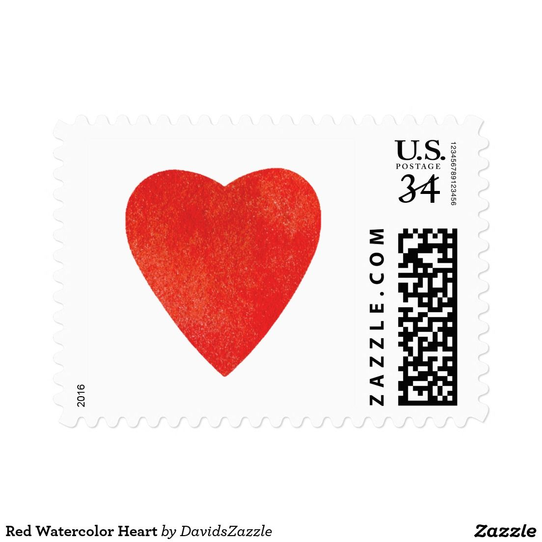 Red Watercolor Heart Postage | Pinterest | Watercolor heart