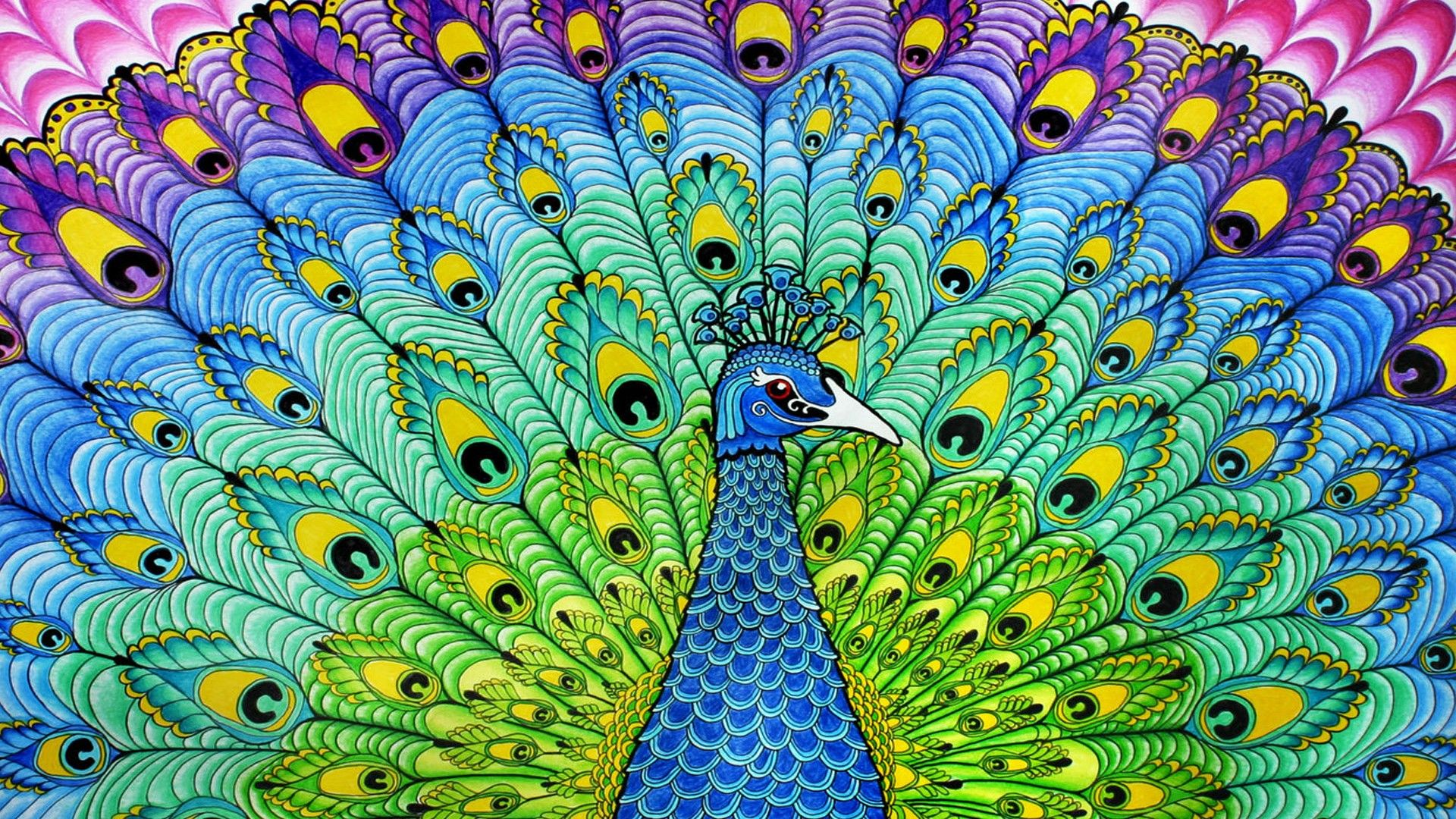 Peacock Painting Wallpaper