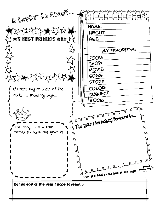 Student info letter pull out again at end of year to compare a – First Day of School Worksheet