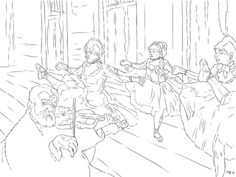 The Rehearsal By Edgar Degas Coloring Page Free Printable Coloring Pages Coloring Pages Edgar Degas Free Coloring Pages