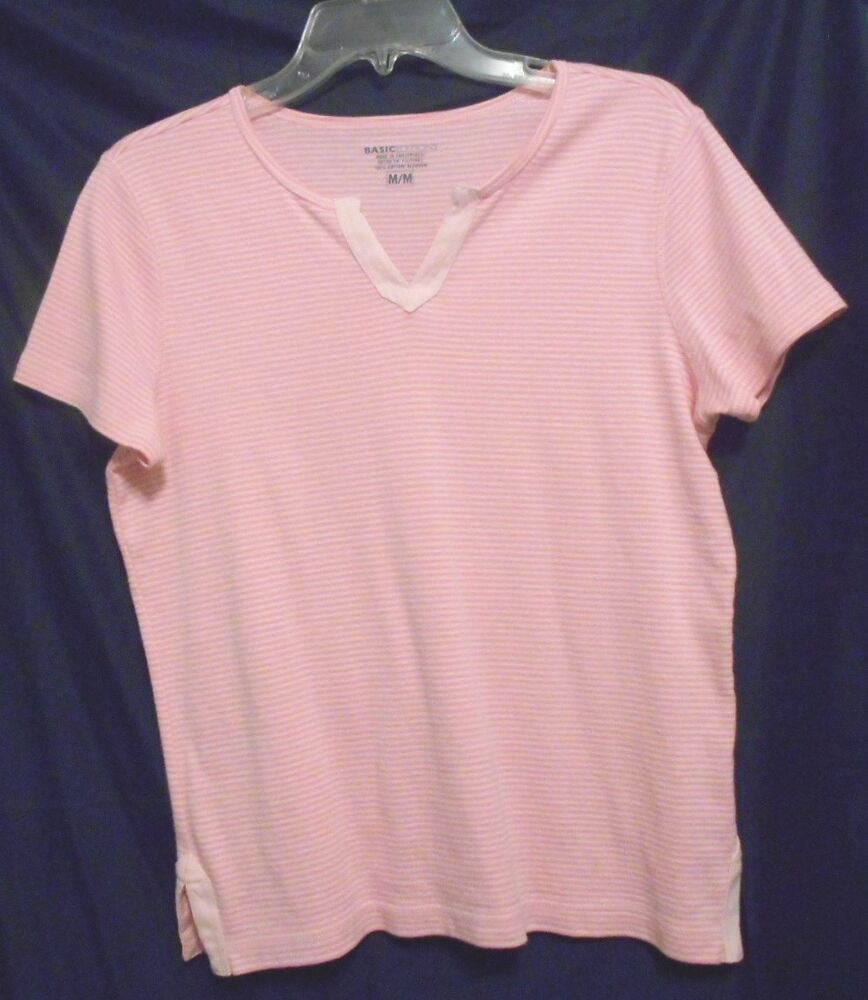 Basic Editions Pink Striped Top 100% Cotton Size M Short