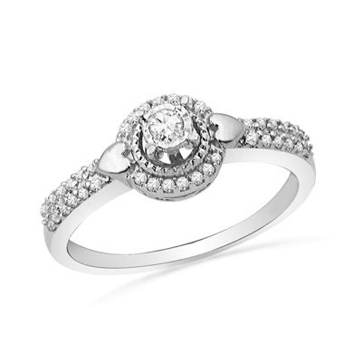 Zales 1/10 CT. T.w. Enhanced Black and White Diamond Three Stone Braid Promise Ring in 10K White Gold UOIjCm94jT