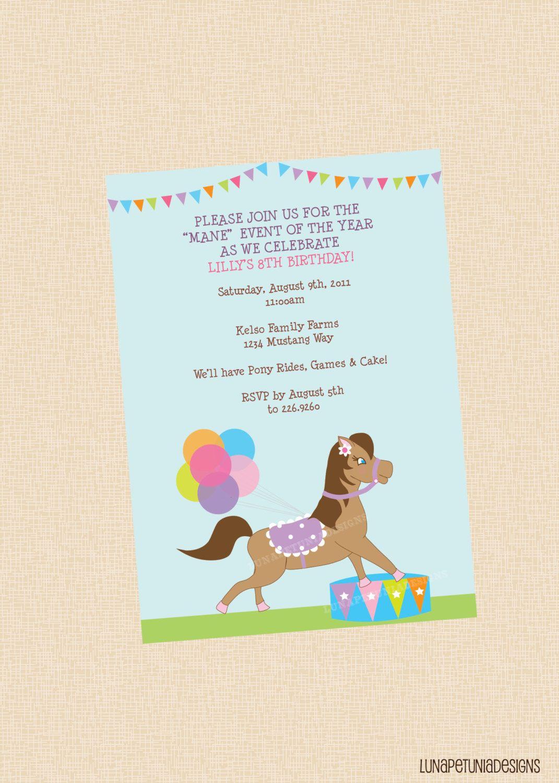 Pony Rides . Birthday Party Invitation . Any Colors   Pony rides ...